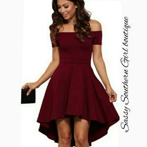 🆕⭐ Red wine off shoulder high-low dress⭐